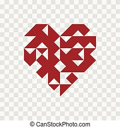 Geometry heart icon on transparent background.