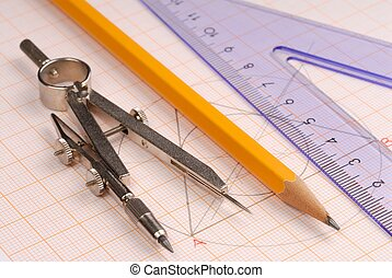 Macro of geometry tools lying on drawing