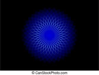 geometry., mathématique, mandala, life., symbole, modèle, isolé, fleur, lotus, sacré, vecteur, tourner, équilibre, circles., néon, bleu, illustration, design., arrière-plan noir, harmony., logo.