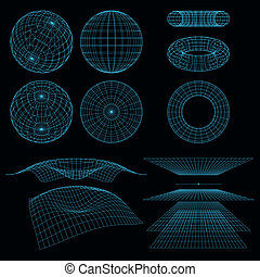 Geometry, Mathematics and Perspective wireframe symbols. ...