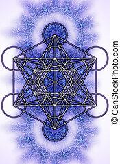 geometry., merkaba, バックグラウンド。, 神聖, 白, mandala