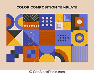 Geometry minimalistic color composition template. Abstract multicolored geometry in scandinavian style for fabric, background, surface design, packaging, web banner, branding package