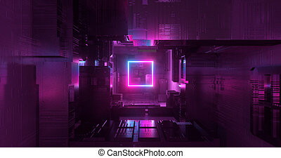 Geometry place light by neon