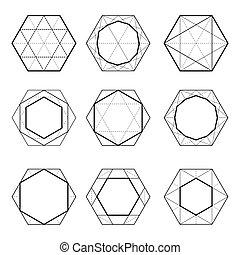 geometry., sacré, hexagones