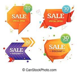 Geometry Sale Label Set. Vector