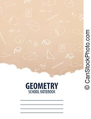 Geometry School Notebook template. Back to School background. Education banner.