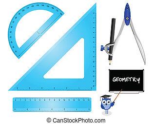 Geometry Set instruments isolated on white background