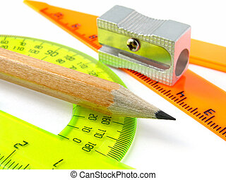 sharpener with pencil and protractor with triangle