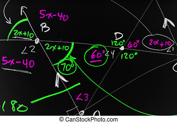 Geometry - Several complex mathematical formulas, equations,...