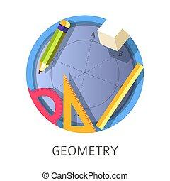 Geometry subject, scientific school and university discipline logo
