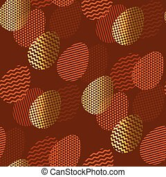 Geometry textured Easter egg seamless pattern in deep...