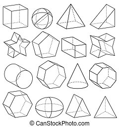 Geometry - Illustration of geometric figures in three...