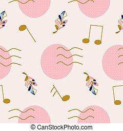 geometryczny, barwny, elementy, notatki, sprytny, liście, muzyka, próbka