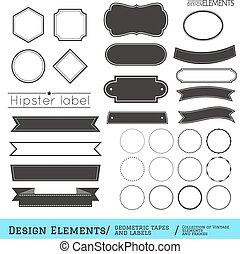 geometryczny, komplet, labels332-01, taśmy