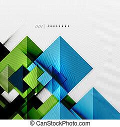geometryczny, kwadraty, futurystyczny, szablon, ukośnik
