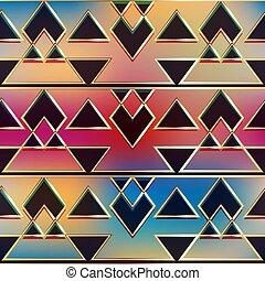 geometryczny, starożytny, złoty, pattern.