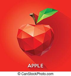 geometryczny, styl, jabłko