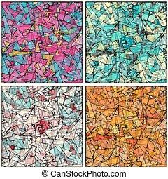 geometryczny, wektor, tła, ilustracja, zbiór