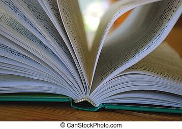 geopend, boek, dichtbegroeid boven