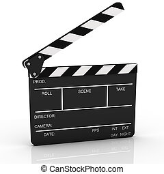 geopend, clapboard, in, perspectief