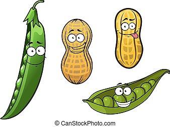 geopend, doppen, erwt, groene, pinda, peulen, spotprent