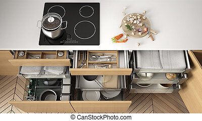 Houten Accessoires Keuken : Lade volle keukengerei geopend keuken