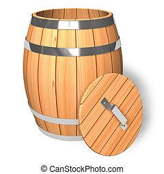 geopend, houten vat