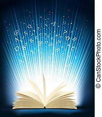 geopend, magisch, boek, licht