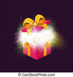 geopend, verrassing, giftdoos, met, confetti, explosion., kerstmis, of, jarig, present.