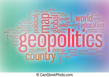 geopolitics, abstrakt, wort, wolke, hintergrund