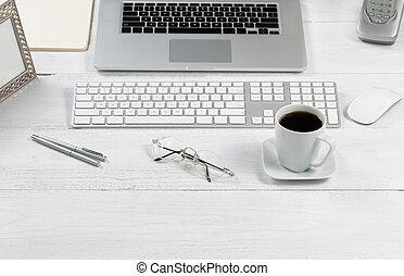 georganiseerd, desktop, opstelling, voor, werken,...