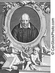 George Buchanan (1506-1582) on engraving from the 1700s. Scottish historian and humanist scholar. Engraved by T.Cook and published by G.Kearsly, No 46 Fleet Street in 1776.