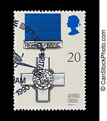 george cross - BRITISH: mail stamp featuring the George...