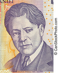 George Enescu on 5 Leu 2005 Banknote from Romania. Composer,...