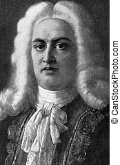 George Frideric Handel (1685-1759) on engraving from 1908....
