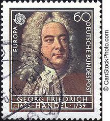 george frideric handel - stamp - german-british composer...