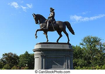 george statua waszyngtona, w, boston wspólny, park