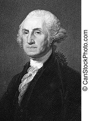George Washington (1731-1799) on engraving from 1800s. First President of the U.S.A. during 1789-1797 and commander of the Continental Army in the American Revolutionary War during 1775-1783. Considered as Father of his country. Engraved by W.Humphreys after a picture by G.Stewart and published in ...