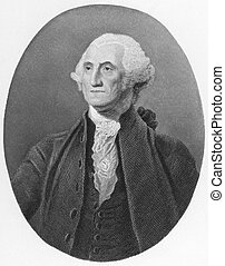 George Washington (1731-1799) on engraving from the 1800s. First President of the U.S.A. during 1789-1797 and commander of the Continental Army in the American Revolutionary War during 1775-1783. Considered as Father of his country. Published in London by J.S.Virtue.