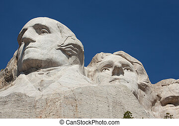 Mount Rushmore - George Washington and Thomas Jefferson in...