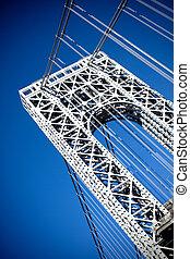 George Washington Bridge - A close up portion of the large...