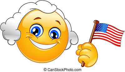 George Washington emoticon holding a flag of USA