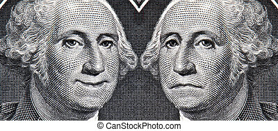 George Washington Dollar Bill then and Now - George...