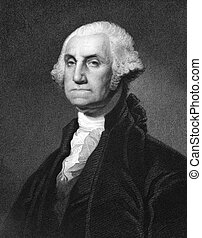 George Washington (1731-1799) on engraving from 1873. First...