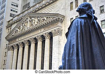George Washington, Federal Hall, Wall St, Manhattan, NY - ...