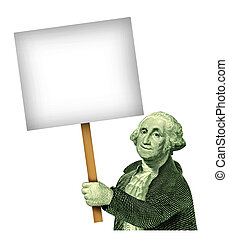 George Washington Holding A sign