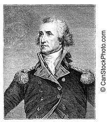 George Washington. Engraved image from a Harpers Monthly...