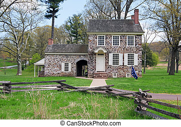 This house at the Valley Forge National Historical Park was George Washington's winter headquarters. Here the General coordinated the daily operations of the of the entire Continental Army.