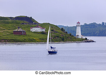 Georges Island Lighthouse in Halifax, Nova Scotia