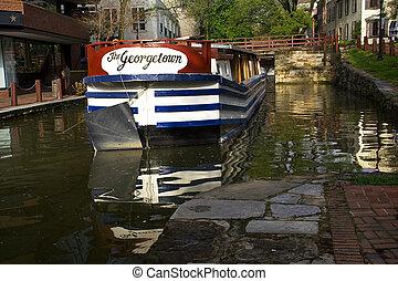 georgetown, barco, c&o, canal, parque nacional, washington...